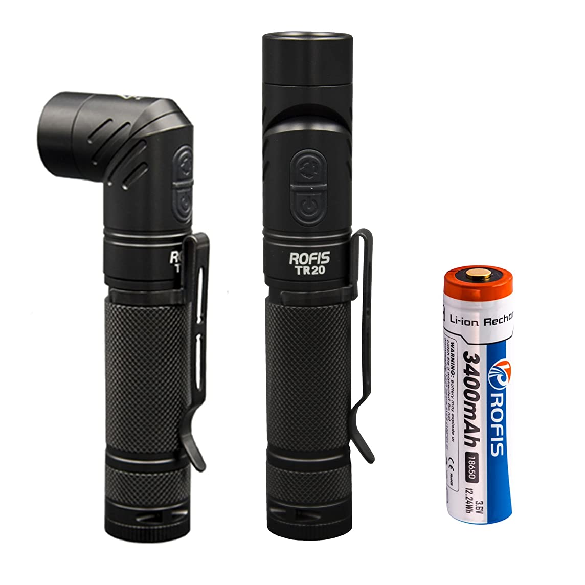 Rofis TR20 Anglelight CREE XP-L HI V3 LED 1100 Lumens USB Rechargeable Flashlight,Magnetic Adjustable-head Portable Compact Tactical LED Flashlight With 3400mAh Rechargeable Battery