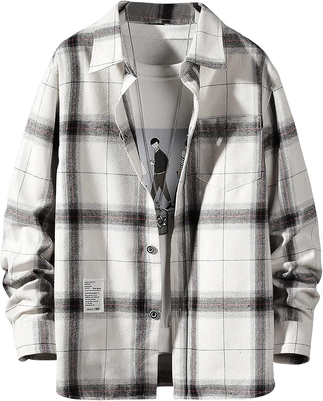 MakeMeChic Men's Plaid Print Long Sleeve Button Down Flannel Shirt Top