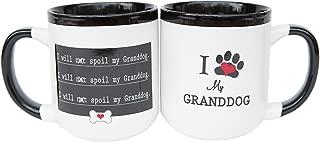 I Heart My Granddog Pawprint 16 Ounce White Ceramic Coffee Mug with Comfort Grip Handle