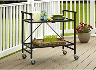 Serving Cart for Dining Room Outdoor Folding Rolling Wheels Serving Cart Bar wheels Portable Trolley Storage Home Kitchen Indoor Food Cocktail Living Room Foldable Shelves Metal Bronze