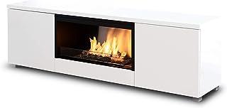 Planika Pure Flame TV Box con quemador de etanol automático sin malla – con mando a distancia – blanco