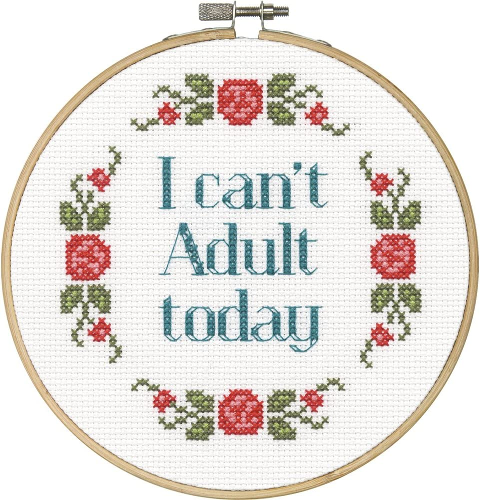 DIMENSIONS 'I Can't Adult Today' Counted Kit Stitch Choice Super-cheap Be Cross for