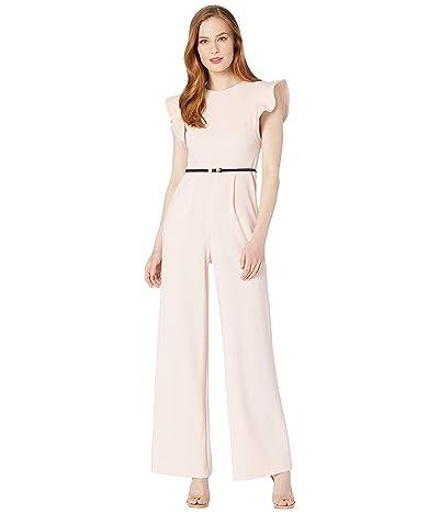 Calvin Klein Belted Ruffle Sleeve Jumpsuit (Blossom) Women