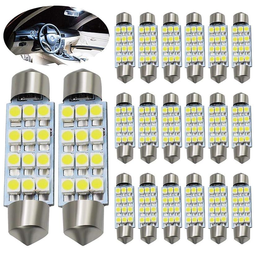 Boodled 20Pcs C5W 41MM LED Bulb 3528 12-SMD Chipsets Festoon Lights Car Light Source Festoon Interior Bulb Dome Map Light Bulbs 12V.(White).