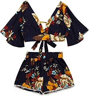 Casual Two Piece Set for Women, Boho Floral Print Summer V Collar Top with Shorts Girls Beachwear