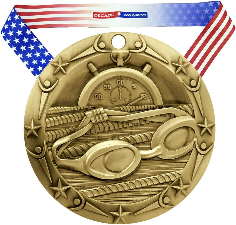 Decade Awards Swimming World Class Store Engraved Inch Medal Wide Max 47% OFF 3 -