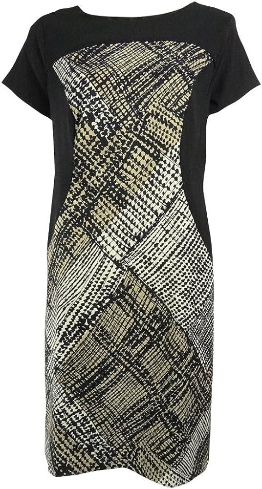 AGB Women's Twill Stretch Keyhole Dress (6, Black Multi)