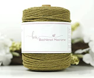 (Olive Green) Macrame Cotton Cord | Single Strand Twist 3mm x 280 Yards Craft Rope | for Plant Hangers, Wall Hangings, Tap...