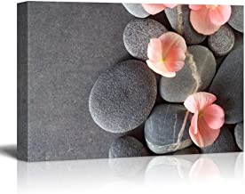 wall26 - Peach Colored Flower on Smooth Zen Stones - Canvas Art Home Decor - 16x24 inches