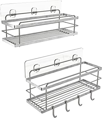 KINCMAX Shower Caddy Basket Shelf with Hooks for Hanging Sponge, No Drilling Adhesive Wall Mounted Bathroom Storage Shampoo H