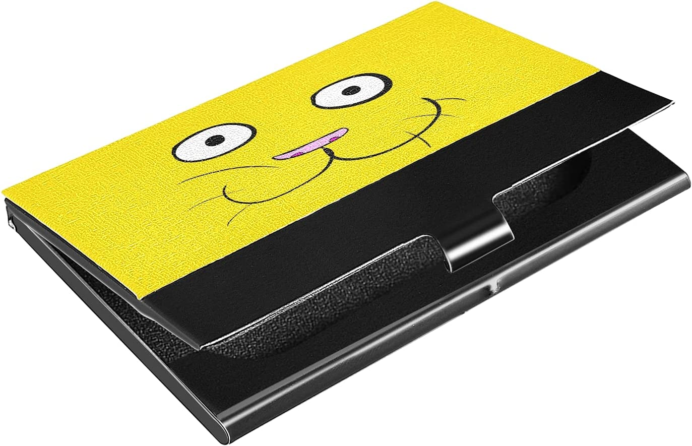 OTVEE Yellow Cat Business Card Holder Wallet Stainless Steel & Leather Pocket Business Card Case Organizer Slim Name Card ID Card Holders Credit Card Wallet Carrier Purse for Women Men