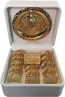 San Rafael Arcangel Arras de Boda - Wedding Ceremony Unity Coins - Hand Made Arras Wedding Coins. Arras de Matrimonio Catholic Wedding Unity Coins with a Miniature Chest Box