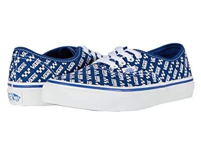 Vans Kids Authentic (Little Kid) ((Logo Repeat) True Blue/True White) Kids Shoes