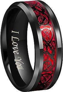 Black Dragon Men Black Tungsten Carbide Ring Wedding Band 8mm Red Carbon Fiber Black/Silver/Blue Celtic Dragon Inlay Engraved I Love You Size 7 to 17