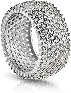 925 Sterling Silver Eternity Ring 7 Row Cubic Zirconia Micro-Pave Set Engagement/Wedding Ring