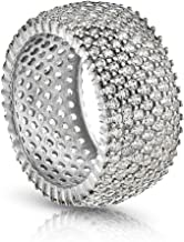 PORI JEWELERS 925 Sterling Silver Eternity Ring 7 Row Cubic Zirconia Micro-Pave Set Engagement/Wedding Ring