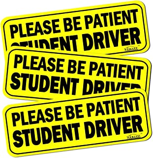 GAMPRO Set of 3 Sign Car Stickers Student Driver Sign Magnet Highly Reflective Vehicle Car Safety Sign Car Stickers Safety Signs Car Vehicle Reflective Sign Sticker Bumper Driver Lager Visible Text