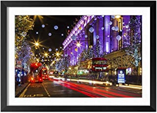 City Street Christmas Holiday Lights - Natural Scenery Art Print Home Decor Wooden Frame Poster(Black Frame 12x16inch)