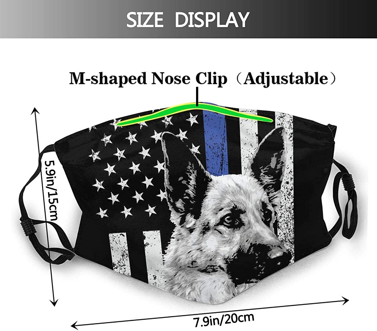 Thin Blue Line Police Dog Face Mask Reusable Dust Mask Fashion Scarves Balaclava Washable Breathable Cloth Fabric Masks With 2 Filters