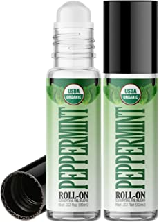 Organic Peppermint Roll On Essential Oil RollerBall (2 PACK - USDA CERTIFIED ORGANIC) Pre-diluted with Glass Roller Ball for Aromatherapy, Kids, Children, Adults Topical Skin Application - 10ml Bottle