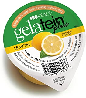 ProSource Gelatein Plus Lemon: 20 Grams of Protein. Ideal for Clear Liquid Diets, swallowing Difficulties, bariatric, Dialysis and Oncology. Great pre or Post-Workout Snack. (14 Pack)