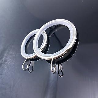 BlueXP 40 Piezas Anillos de Cortina de Metal Silencioso 28mm y 34mm de Diámetro Interno Anillas para Ccolgar Cortinas y Varillas Cortina de Ducha Color Plateado