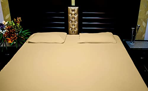 Ciel Home 100 Cotton Jersey Soft T Shirt Fabric King Size Fitted Bed Sheet Set Beige Fits Upto 30cm Mattres