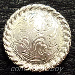 Conchos for Clothes Western Leather Craft TACK Bright Silver Engraved Rope Edge Concho screwback