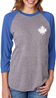 Tstars Canada Maple Leaf Pocket Print Canadian 3/4 Women Sleeve Baseball Jersey Shirt
