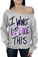Awkwardstyles I Woke Up Like This Off The Shoulder Oversized Sweatshirt Galaxy