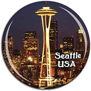 Space Needle Seattle America USA Fridge Magnet 3D Crystal Glass Tourist City Travel Souvenir Collection Gift Strong Refrigerator Sticker