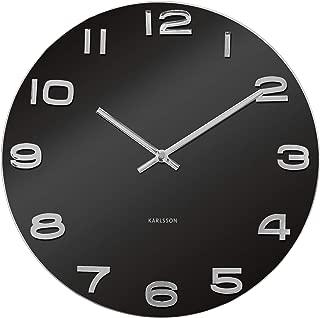 Present Time Karlsson Wall Clock Vintage Round Glass, Black