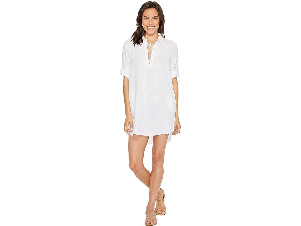 Allen Allen 3/4 Sleeve Tie Front Dress (White) Women