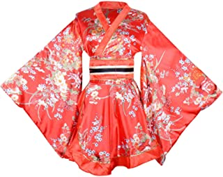 Sexy Short Kimono Costume Adult Women's Japanese Geisha Yukata Prints Gown Blossom Fancy Dress with OBI Belt