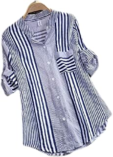 UUYUK Women Long Sleeve Stripe Tops Button Up Shirts Blouse with Pocket
