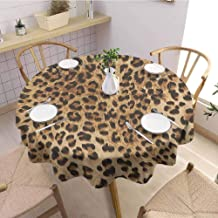 Pattern Round Tablecloth,Leopard PrintSkin Pattern of a Wild Safari Animal Powerful Panthera Big Cat,Party Decorations Table Cover ClothPale Brown Black Diameter 50