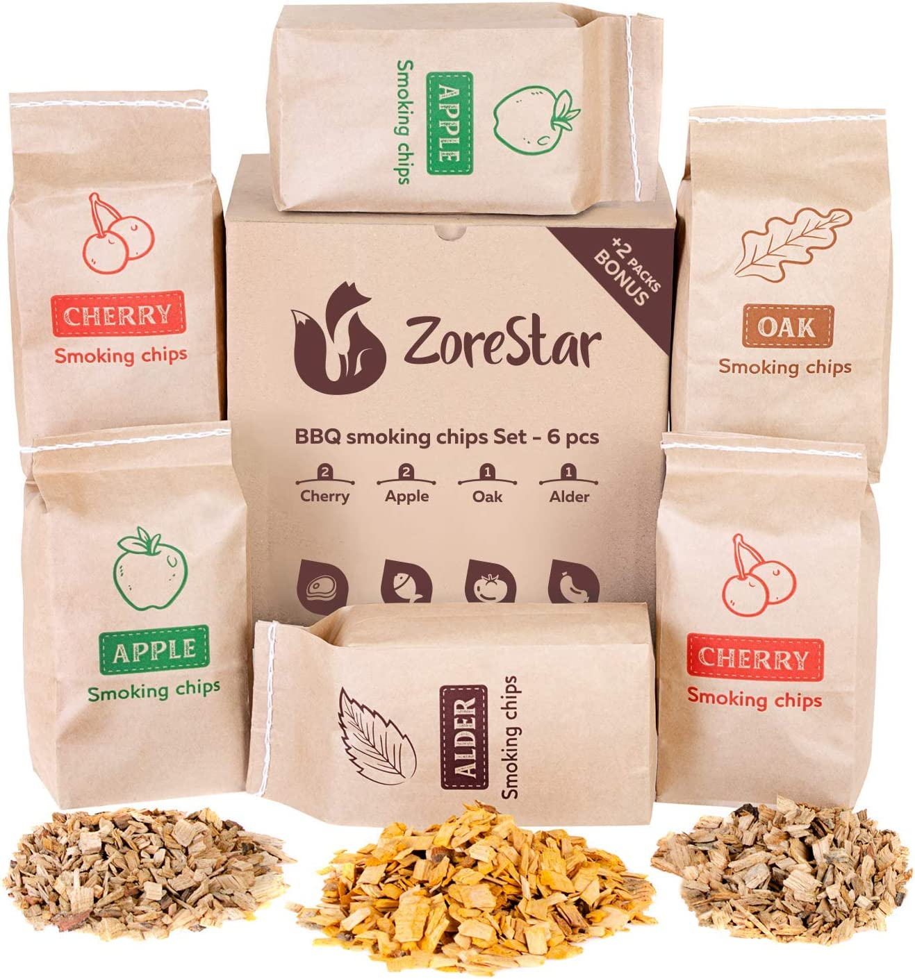 Zorestar Wood Chips for Smokers - 6 Tampa Mall Pack High order Al Oak Variety pcs of