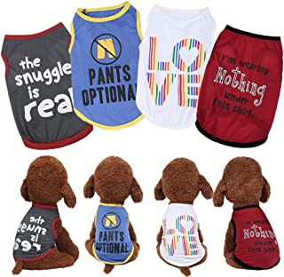 Yikeyo Male Dog Shirts Summer - Small Dog Clothes for Boys - xs Puppy Clothes - Doggy Shirt Pack of 4 - Dog Tshirts Outfit...
