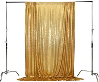 Poise3EHome 6FT x 8FT Sequin Photography Backdrop Curtain for Party Decoration, Non-Transparent Gold