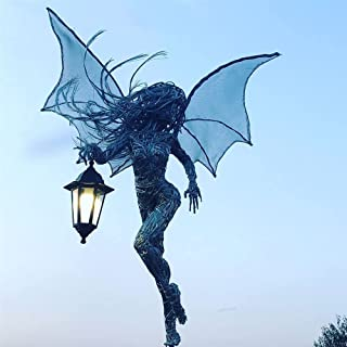 Metal Wire Elves Figurine, Garden Elf Angel Girl Statue, Elf Sculpture with a Lantern, Miniature Outdoor Fairy Ornament, A...