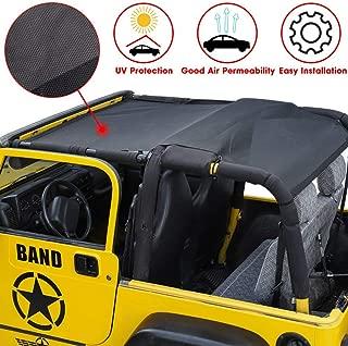 RT-TCZ Durable Polyester Mesh Bikini Top Cover Provides UV Sun Protection for 1997-2006 Jeep Wrangler TJ & Unlimited (TJ-Black)