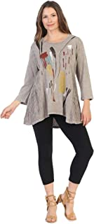 Jess & Jane Women's Color Sketch Wave Knit Contrast Mineral Washed Cotton Tunic