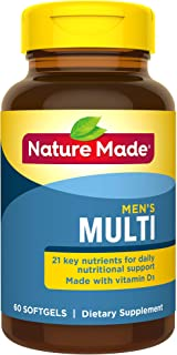 Nature Made Men's Multivitamin Softgels with 21 Key Nutrients, 60 Count (Packaging May Vary)