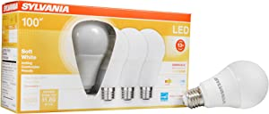 LEDVANCE Sylvania LED A19 Light Bulb, 100W Equivalent Efficient 16W, Medium Base, Dimmable Frosted 2700K Soft White, 4 Pack (40737)