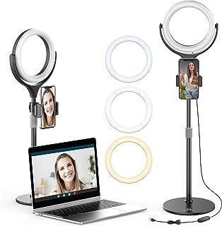 Ulanzi Led リングライト 自撮リングライト 補助光 美顔 ビデオライト卓上スタンド リモコン 付き 10段階調光可能 3モード 角度調節 USB給電 Vlog、Tiktok、自撮り、メイク、ライブストリーミング、動画・写真撮影に使える...