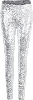 COODIO Imixcity Women Shiny Sequin Stretch Tights Skinny Legging Pant Sliver L