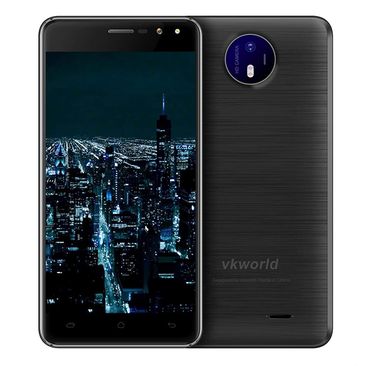 Hotsale!Elevin(TM)2017New VKworld F2 3G Unlocked Smartphone 5.0 inch 2.5D Arc Screen Android 6.0 MTK6580A Quad Core 1.3GHz 2GB RAM 16GB ROM Dual Flash Light US Plug (Black) rkgry2534