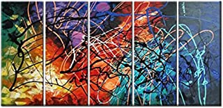 FLY SPRAY Colorful Lines Oil Paintings On Canvas Wall Art 5 Panels Contemporary Art Stretched Framed 100% Hand Painted Modern Artwork Abstract Painting Living Room Bedroom Office Home Decor