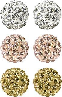 JewelrieShop Rhinestones Crystal Ball Stud Earrings Set Fireball Disco Ball Pave Bead Earrings Hypoallergenic for Girls Women