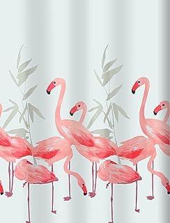 Spirella 10.16355 Textile Shower Curtain 180 x 200 cm Flamingo Design Salmon Colour